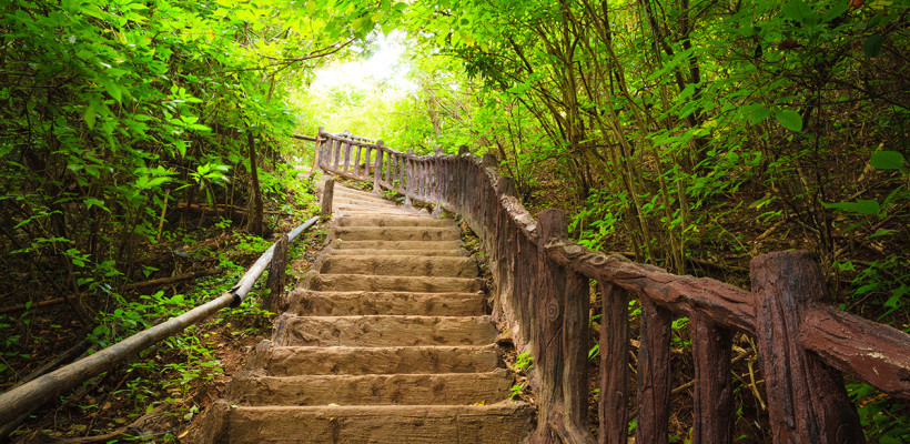 Stairway to forest Erawan national parkKanchanburi Thailand